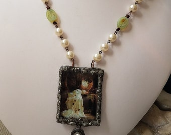 Woman in White - Handmade Soldered Glass Bezel Pendant - Pearls, Vintage Picasso Beads, Copper Chain