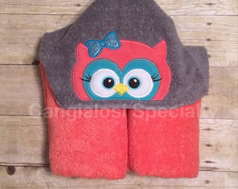 Owl Hooded Towel/ Baby/Kids/Adult/Baby Shower/Birthday/Christmas/Gift/Bath/Pool/Towel/Easter/Summer/Beach/Party/Favor/Idea/Theme/Whoo