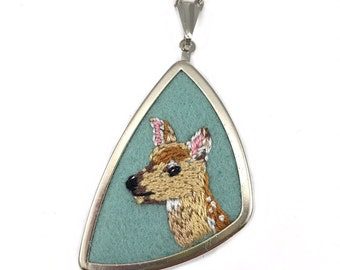 Fawn Necklace, Fawn Jewelry, Nature Lover Gift, Embroidered Jewelry, Gift for Animal Lover, Nature Lover Gift, Deer Gift, Deer Necklace