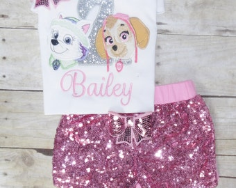 Skye and Everest birthday outfit, Paw Patrol birthday outfit Skye tutu,character. skye shirt, Pup birthday shirt, Paw patrol birthday outfit