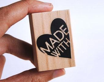 Made with love stamp, love stamp, made with love tags, stamp for tags, made with love labels, made with the heart, made with love, stamp DIY