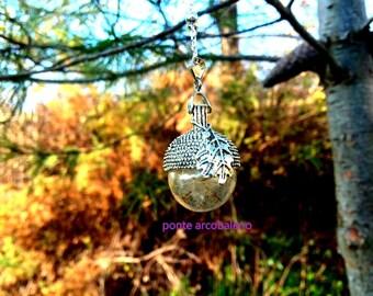 Dandelion necklace/ true dandelion/ acorn/ glass/ lucky charm/ wish/ jewelry/ for her/ gift