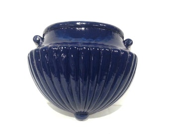 Vintage Sconce Wall Pocket / navy blue homeco 60s 1960s home decor wall hanging