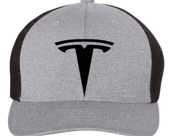 TESLA Auto Model 3 Model S Flex Fit Hat **ROUND Bill**  ***Free Shipping in BOX***