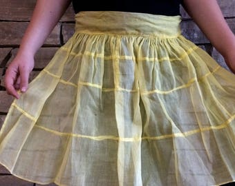 Vintage Yellow Sheer Tiered Half Apron Apron