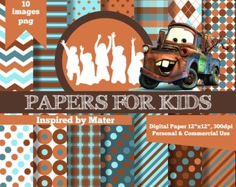 Digital Papers, Mater, Cars, Invitation, Background, Birthday, Clipart, Papers for kids