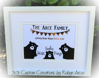 Bear Family Name Print - Foil Family Name Print - Bear Family Sign - Family Name Print - Framed Family Name Print - Custom Family Name
