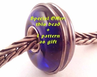 Special offer 1 pattern + 1 bead  loversofbeads SRA artist - lampwork glass bead - lined with Sterling Silver - Made To Order - S367