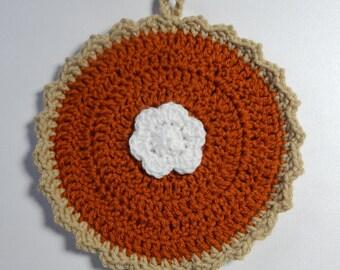 Crochet Pumpkin Pie Pot Holder, Trivet, Hot Pad