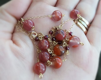 Jasper agate beads and micro faceted garnet beads necklace handmade with 14k gold filled chain