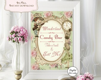 Alice in Wonderland Candy Bar Sign  Digital Download,Printable,Wedding,Party,