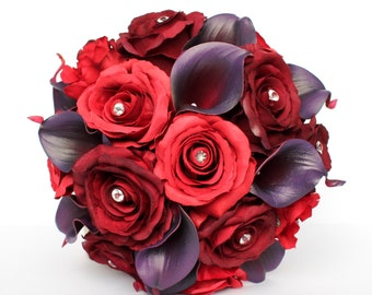 Red and Plum Wedding Bouquet , Calla Lily and Rose Wedding Bouquet , Silk Roses , Real Touch Calla Lilies , Gems