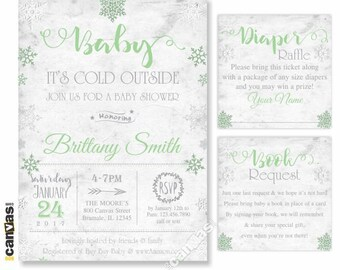 Baby Its Cold Outside Baby Shower Invitation, Winter Snowflakes Wonderland, Shabby Chic, DiY Printable or Printed with FREE SHIPPING BS268