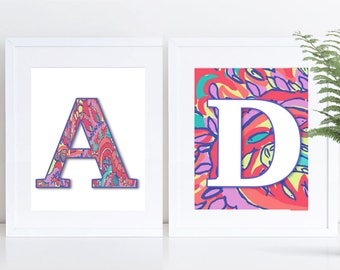 """Lilly Pulitzer Inspired; ALPHABET; Feelin' Groovy; PRINTABLE; 8""""x10"""" and 5""""x7"""""""