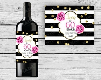 BIRTHDAY WINE Bottle LABELS - Pink Peonies, Black and White Stripe Champagne Label, Black Pink & Gold, Cheers, Party, Celebration, Wine