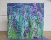 Lavender card ~ blank card ~ greetings card ~ embroidery greetings card ~ nature lover ~ art card ~ printed card ~ artist prints