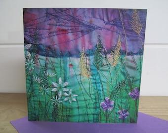 Wildflowers card ~ blank card ~ greetings card ~ embroidery greetings card ~ nature lover ~ art card ~ printed card ~ artist prints