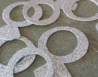 BRIDAL shower, ENGAGEMENT,  WEDDING--- 60 pieces-Engagement Rings   in Glitter Card stock -choose your Color