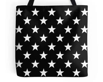 Stars Bag, Star Tote, Star Purse, Star Bag, Stars Bookbag, Black White Star Bag, Stars Tote, Star Accessories, Stars Purse, Stars Handbag