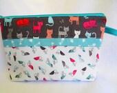 Wide Open Zipper Bag, Notions Bag, Cosmetic Bag, Sewing Bag, Toiletries Bag, Jewelry Bag, Knitting Bag, Crochet Bag, Cat Theme Fabric