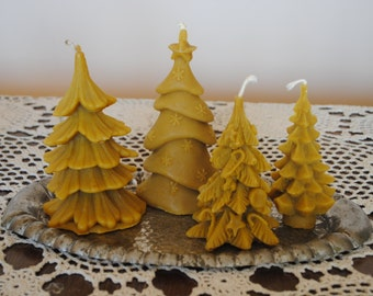 4 x Beeswax Christmas Tree Candles - Xmas, Christmas Table Centre Piece, Pure Natural, Fall - Beeswax Christmas Tree Candles