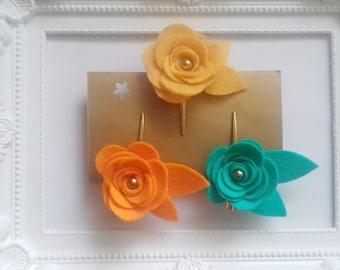 Felt Flower clip -Flower Baby Hair Clips - Flower rose hair clips