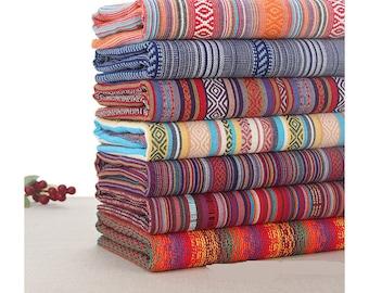 Bohemian style Rainbow Stripe Cotton Fabric cotton Bag fabric  Purse fashion Fabric curtain fabric- 1/2 Yard
