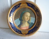 Miniature Print La Vergine Domenico Ghirlandaio 1449-1494 The Virgin Mary Icon