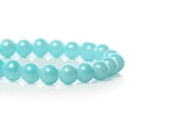 140 6mm sky blue glass beads