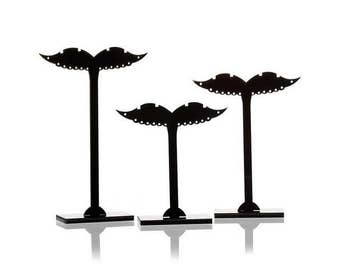 Acrylic Jewelry Earrings Display Rack Stand Mustache Shaped Black - Set of 3 pcs