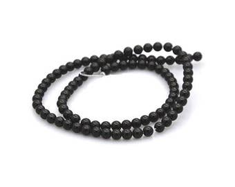 100 beads of Agate black round 4mm