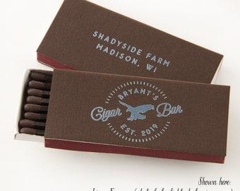 EAGLE CIGAR BAR Cigar or Candle Matchboxes - Cigar or Candle Matchboxes - Wedding FavorS, Wedding Decor, Cigar Accessories, Cigar Gift, Est.
