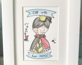"The Queen of Hearts Original 4""x6"" Watercolour Illustration"