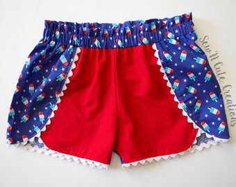 Bomb Pop Shorts, Rocket Pop, Popsicle, Ice Cream, Summer, 4th of July, Patriotic, Red White & Blue, Shorties, Toddler shorts, Girls Shorts