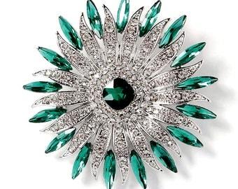 Green Crystal Brooch, Rhinestone Emerald Brooch, Large Green Bridal Brooch, Green Cake Decoration, Green Dress Sash Brooch, Green Brooches