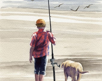 Fishing Buddies - Art Print - Watercolor Painting - Signed by Artist DJ Rogers - Wall Decor