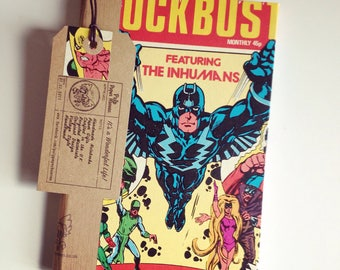 INHUMANS COMIC NOTEBOOK - Hand bound reused vintage comic, Fathers Day Gift, recycled notebook, boyfriend gift