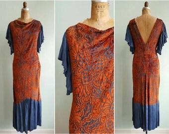 Vintage 1920s Silk Velvet Burn Out Dress | Size Small/Medium