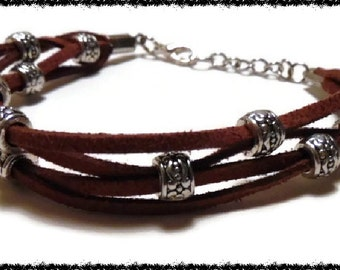 Brown Boho Leather and Silver Bead Bracelet