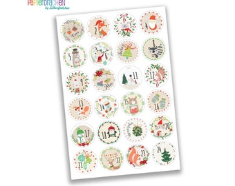 24 advent calendar numbers sticker - colorful - No. 22 - sticker to the Tinker and decorate