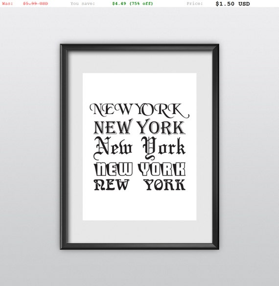75% off Typography Print New York New York Travel Poster Inspirational Poster Home Decor Wall Decor Motivational Winter Wall Art (T60)