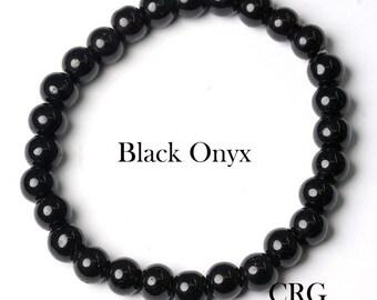 Round 6-7mm BLACK ONYX Beads Stretch Bracelet (BR38DG) (special)