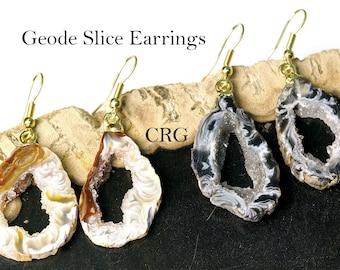 Plain Geode Slice Earrings w/ Gold Plated Earwire (ER25BT)