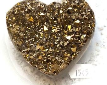 A-1545 Titanium Aura Quartz Crystal Heart 6.6 oz.