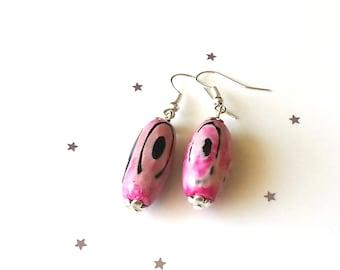 Pink agate earrings - sterling silver earrings - gemstone earrings - pink earrings - gift for her