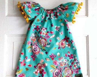 Boho baby dress- toddler -peasant dress- baby girl clothing - special occasions-summer wedding dress- first birthday -