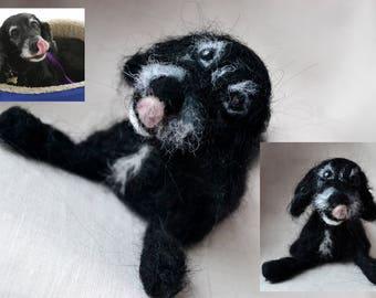 Dog 3d portrait, custom pet dog replica, pet loss dog memorial figurine, felted dog sculpture, dog ornament, gift for him, realistic animal