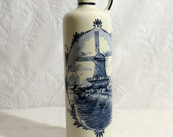 Delft Ceramic Decanter with Stopper, Vintage Delft Blue Made in Holland Handwerk, Numbered and Signed, Blue White Decor, Dutch Windmill