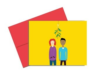 """DIY Printable Mistletoe Holiday Greeting Card – Digital Card Instant Download 4.25 x 5.5"""" A2 Size"""