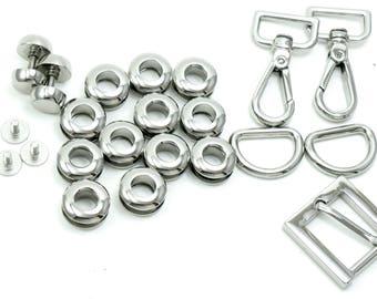 Set of chrome metal hardware (screw-in eyelets, bottom feet/studs, etc) for basic model of bucket/pull-string bag/purse witht shoulder strap